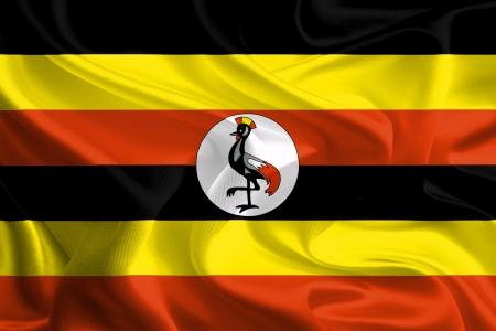 Waving Fabric Flag of uganda