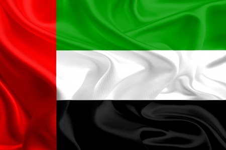 foreign national: Waving Fabric Flag of United Arab Emirates