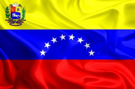 Waving Fabric Flag of Variant flag of Venezuela photo
