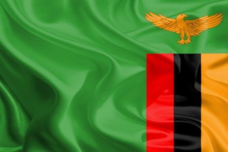 zambian: Waving Fabric Flag of Zambia