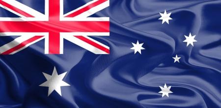Waving Fabric Flag of australia Stock Photo