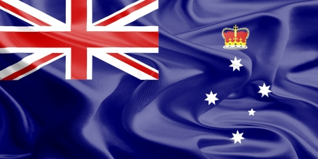 Waving Fabric Flag of Victoria ,Australia
