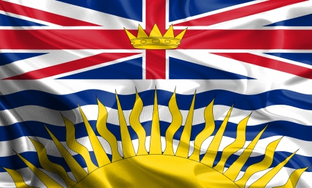 Waving Fabric Flag of British Columbia, Canada photo