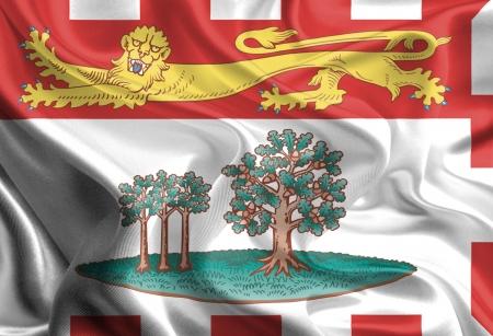 edward: Waving Fabric Flag of Prince Edward Island, Canada