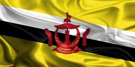 brunei: Waving Fabric Flag of Brunei Stock Photo