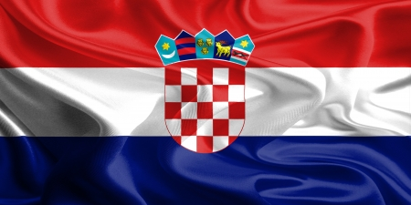 Waving Fabric Flag of Croatia photo