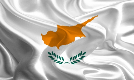 Waving Fabric Flag of Cyprus photo