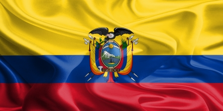 Waving Fabric Flag of Ecuador Stock Photo - 18295917