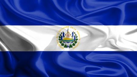 el salvador: Waving Fabric Flag of El Salvador