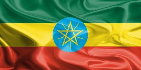 Waving Fabric Flag of Ethiopia