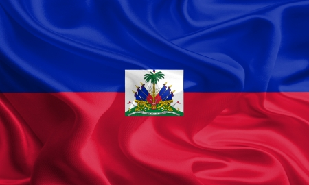 Waving Fabric Flag of Haiti photo