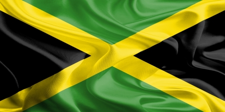Waving Fabric Flag of Jamaica photo