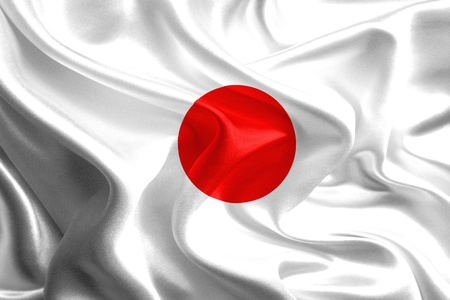 Waving Fabric Flag of japan Stock Photo