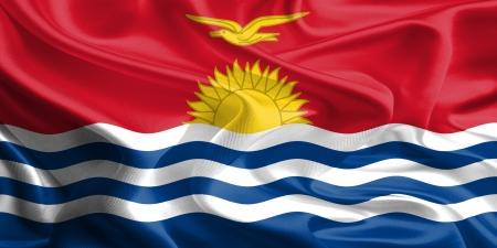 kiribati: Waving Fabric Flag of Kiribati
