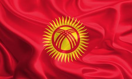 Waving Fabric Flag of Kyrgyzstan
