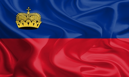 liechtenstein: Waving Fabric Flag of Liechtenstein