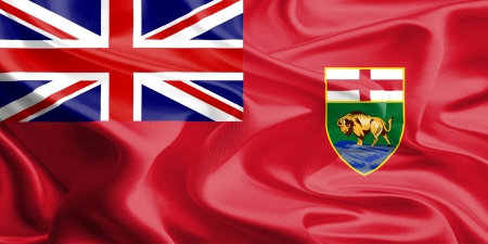 manitoba: Waving Fabric Flag of Manitoba, Canada
