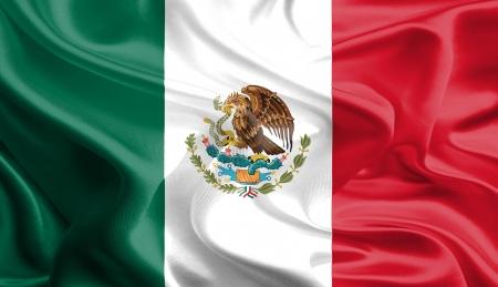 멕시코의 흔들며 직물 깃발 스톡 콘텐츠