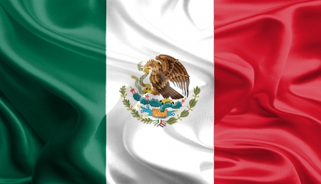 Waving Fabric Flag of Mexico Stock Photo