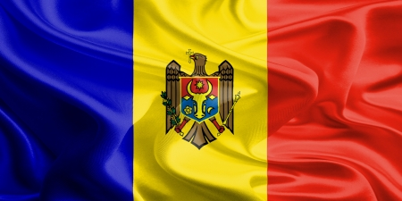 Waving Fabric Flag of Moldova photo