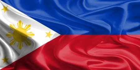 Waving Fabric Flag of Philippines photo