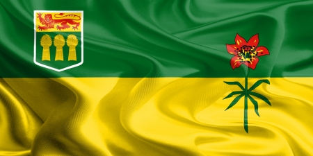 Waving Fabric Flag of Saskatchewan, Canada  photo
