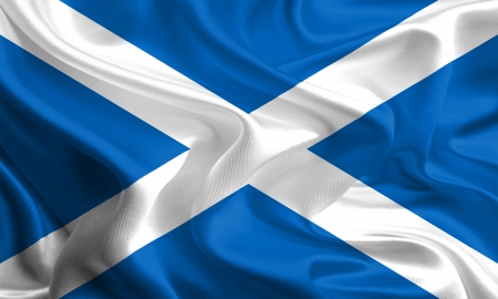 Waving Fabric Flag of Scotland photo