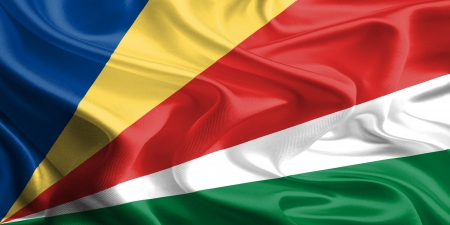 seychelles: Waving Fabric Flag of Seychelles