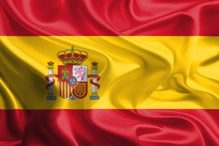Waving Fabric Flag of spain Stock Photo - 18295395