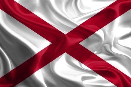 USA State Flags  Waving Fabric Flag of Alabama Stock Photo - 18307479