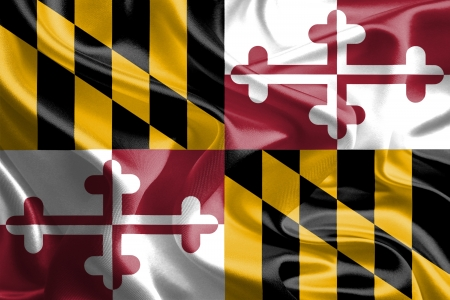 USA State Flags   Waving Fabric Flag of Maryland Stock Photo