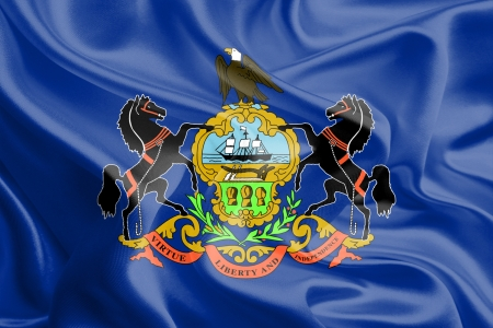 USA State Flags   Waving Fabric Flag of Pennsylvania