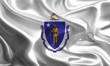 USA State Flags  Waving Fabric Flag of Massachusetts Stock Photo