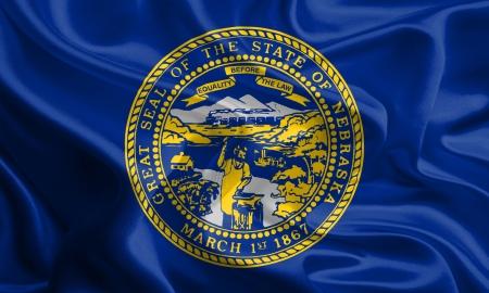 USA State Flags  Waving Fabric Flag of Nebraska Stock Photo