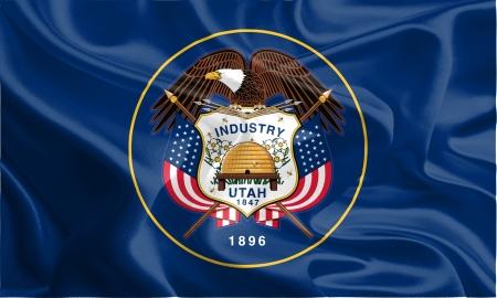 USA State Flags  Waving Fabric Flag of Utah Stock Photo
