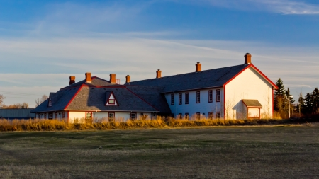 Fort Calgary located at the confluence of the Bow and Elbow rivers in what is now Calgary, Alberta  National Historic Site of Canada   Stock Photo - 18402910