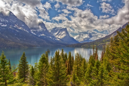 St Mary lake in Glacier National Park in USA  photo