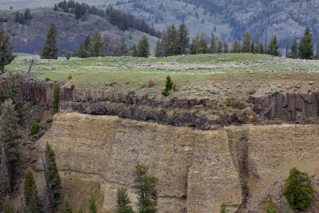 Mountains in Yellowstone national park at upper falls photo