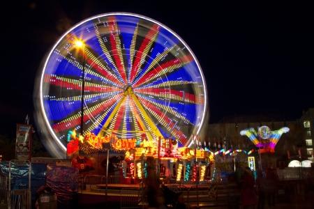 stampede: Ferris wheel at night at Calgary Stampede Park  Editorial