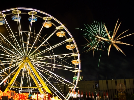 Ferris wheel at night at Calgary Stampede Park  Stock Photo - 18832245