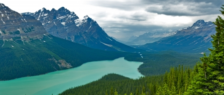 Aerial view of Peyto Lake, Banff National Park, Canada  photo