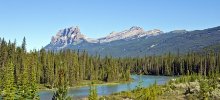 banff national park: Castle Mountain, Banff National Park, Canada  Stock Photo