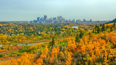 View of Calgary downtown from Edworthy park Фото со стока - 18909237