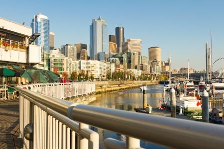 elliot: boats in Seattle Seaport, Alaskan way, Seattle, Washington, USA  Editorial