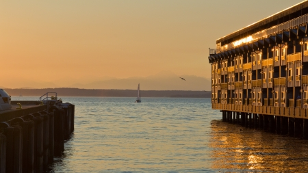 Beautiful sunset over harbor of City of Seattle  photo