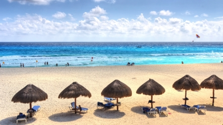 Cancun beach Caribbean sea in Mexico  photo