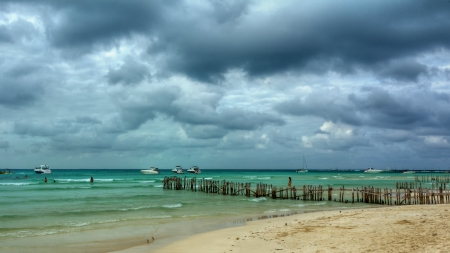 boat bridge Cancun beach photo