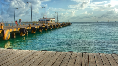boat bridge  on Cancun beach photo