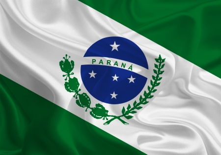 Brazil State Flags  Waving Fabric Flag of Paraná photo