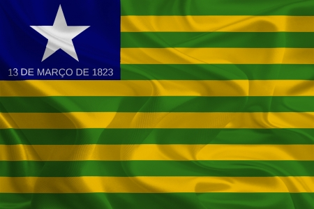 Brazil State Flags  Waving Fabric Flag of Piauí photo